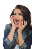 Mulher atrativa de Expressions.Young que grita Fotos de Stock Royalty Free