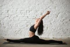 Mulher atrativa do iogue novo na pose do deus do macaco, fundo branco imagens de stock