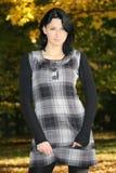 Mulher atrativa em vestido checkered imagens de stock