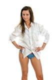 Mulher atrativa na camisa do mens. fotos de stock