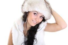 Mulher atrativa no chapéu forrado a pele Fotos de Stock Royalty Free