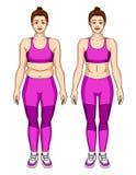 Mulher atrativa nova no desgaste do esporte que está na parte dianteira antes e depois de peso perdido Foto de Stock