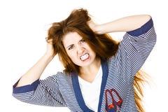 Mulher atrativa que tem a expressão frustrante irritada da cara imagens de stock royalty free