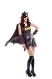 Mulher atrativa vestida no traje do bastão isolado Imagem de Stock