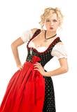 Mulher bávara no dirndl típico do vestido fotografia de stock royalty free