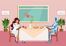A mulher bebe o chá com ilustração lisa do Cyborg ilustração do vetor