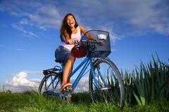 Mulher Biking Imagem de Stock