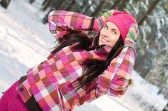 Mulher bonita ao ar livre no inverno Fotografia de Stock