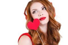 A mulher bonita brilhante no dia de Valentim do St Fotos de Stock Royalty Free