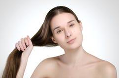 Mulher bonita Cabelo longo reto fotos de stock royalty free