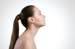 Mulher bonita Cabelo longo reto imagem de stock