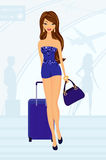 Mulher bonita com bagagem ilustração royalty free
