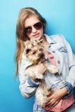Mulher bonita com cão do yorkshire terrier fotos de stock royalty free