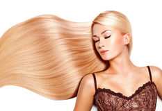 Mulher bonita com cabelo branco longo. Fotos de Stock Royalty Free