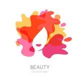 Mulher bonita com cabelo colorido ilustração do vetor