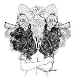 Mulher bonita com cabelo e os chifres longos ilustração royalty free