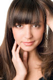 Mulher bonita com cabelo escuro e os olhos marrons Imagem de Stock