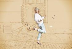 Mulher bonita com chapéu e bolsa, esboço Fotografia de Stock
