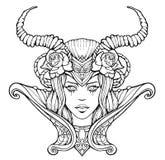 Mulher bonita com chifres ilustração royalty free