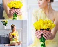 Mulher bonita com colagem amarela das tulipas Fotos de Stock Royalty Free