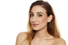 A mulher bonita com compo imagem de stock royalty free