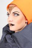 Mulher bonita com composição creativa Fotografia de Stock