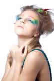 Mulher bonita com composição da cor Imagem de Stock
