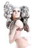 Mulher bonita com composição e penteado da forma foto de stock royalty free