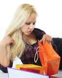 Mulher bonita com compras foto de stock royalty free