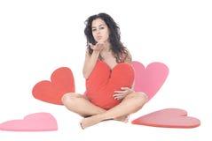Mulher bonita com corações fotos de stock royalty free