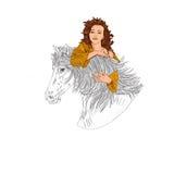 Mulher bonita com equitação do cabelo encaracolado, retrato, encanto, cômico Imagens de Stock Royalty Free