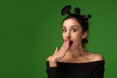 Mulher bonita com escovas da composição - imagem conservada em estoque Imagens de Stock