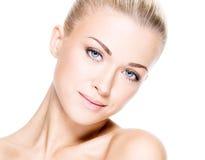 Mulher bonita com face da beleza Imagens de Stock