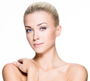 Mulher bonita com a face da beleza - isolada foto de stock royalty free