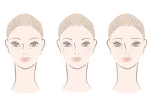 Mulher bonita com freckles, pontos de fígado ilustração do vetor