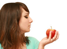 Mulher bonita com maçã Imagens de Stock