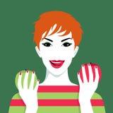 Mulher bonita com maçãs ilustração do vetor