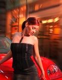 Mulher bonita com o carro. imagem de stock royalty free