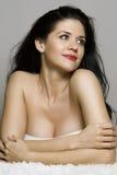 Mulher bonita com olhos cativando Imagens de Stock