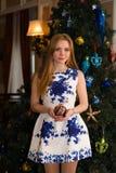 Mulher bonita com os brinquedos do Natal nas mãos Imagens de Stock Royalty Free