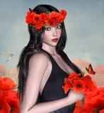 Mulher bonita com papoilas Fotos de Stock Royalty Free