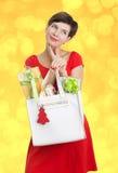 Mulher bonita com presentes de Natal Fotos de Stock Royalty Free