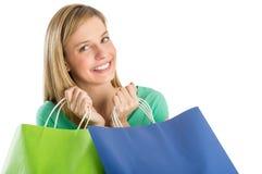 Mulher bonita com sacos de compras imagem de stock royalty free