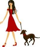 Mulher bonita com seu cão Ilustração Royalty Free