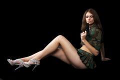 Mulher bonita com um injetor Imagem de Stock