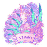 Mulher bonita com um quadro decorativo da flor Fundo sem emenda do teste padrão Grupo luxuoso do estilo de Art Nouveau do zodíaco Foto de Stock Royalty Free