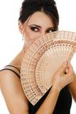Mulher bonita com ventilador Fotografia de Stock