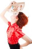 Mulher bonita com ventilador imagem de stock royalty free