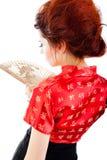 Mulher bonita com ventilador imagens de stock royalty free