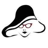 Mulher bonita com vidros vermelhos ilustração stock